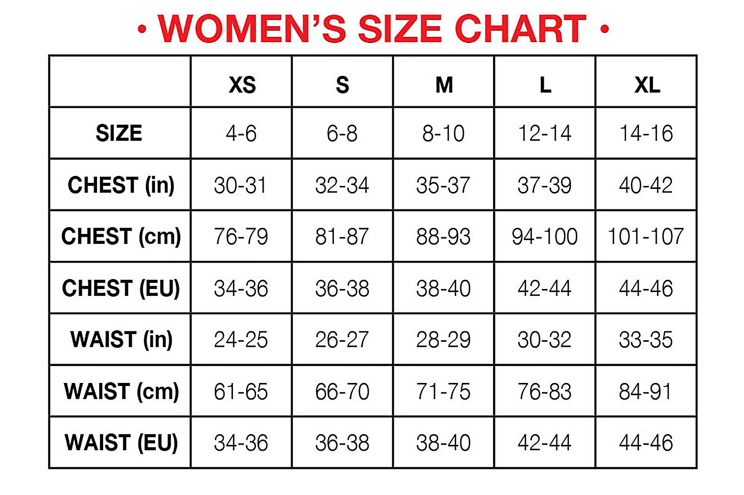 Womens Hot Chillys Base Layer Size Chart
