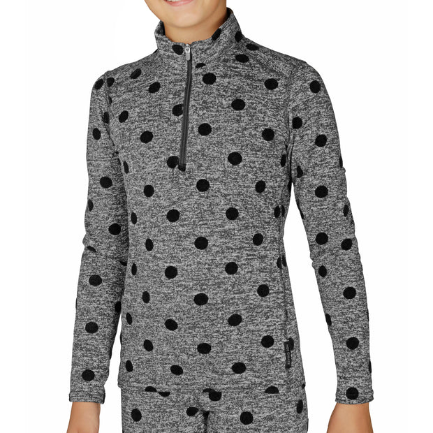 Youth Heather Dots Zip-T - Hot Chillys