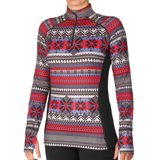 Women's Micro-Elite Chamois Print Zip-T - Hot Chillys