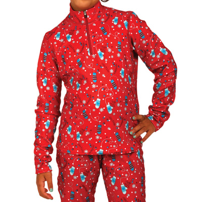 Youth Pepper Fun Fleece Print Zip-T - Hot Chillys
