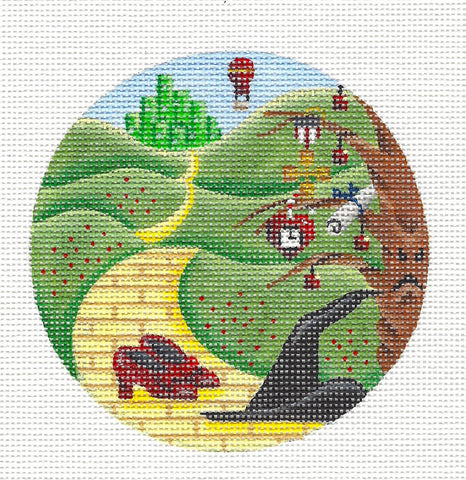 Round ~Wizard of OZ the Yellow Brick Road handpainted Needlepoint Ornament Rebecca Wood~MAY NEED TO BE SPECIAL ORDERED