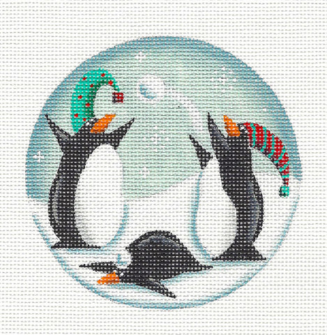 Round ~ Penguin Snowballs handpainted Needlepoint Canvas by Rebecca Wood