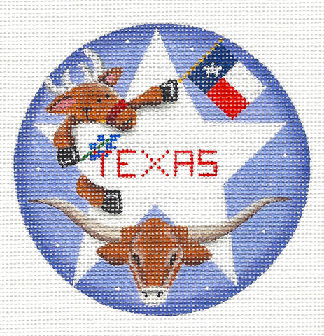 Round ~ Texas Reindeer handpainted Needlepoint Canvas by Rebecca Wood *** MAY NEED TO BE SPECIAL ORDERED***