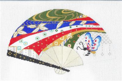 Elegant Butterfly & Ribbons Oriental FAN handpainted Needlepoint Canvas ~ Sophia