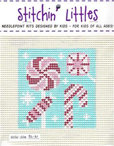 Stitchin Kit~Child's Christmas Candy handpainted Needlepoint Canvas & Yarn KIT by Purple Palm