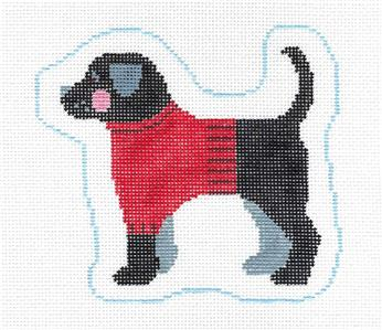 Canvas~Black Lab in a Sweater Dog handpaint Needlepoint Canvas Ornament Kathy Schenkel