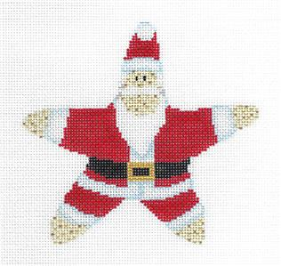 Starfish Santa Ornament handpainted Needlepoint Canvas by Edie & Ginger from CBK