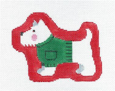 Canvas~Westie in a Sweater Dog handpainted Needlepoint Canvas Ornament Kathy Schenkel