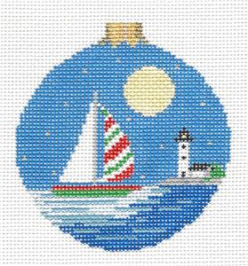Christmas~Moonlight Christmas Sailboat handpaint Needlepoint Ornament Canvas Susan Roberts