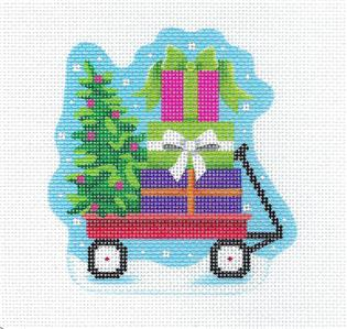 Canvas- Lil' Red Wagon with Gifts handpainted Needlepoint Ornament Canvas by Pepperberry