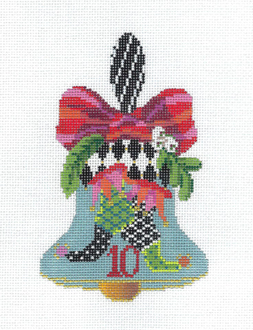 Kelly Clark ~ 12 Days of Christmas Hand Bell 10 Lords Leaping handpainted Needlepoint Canvas by Kelly Clarky