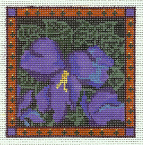 "Canvas~ 4"" Square Purple Violet Coaster handpainted Needlepoint Canvas~by Whimsy and Grace"
