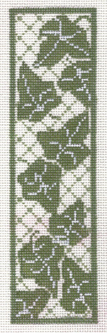 "Bookmark~7.25"" Green & White Ivy Lattice handpainted Needlepoint Canvas~by Whimsy and Grace"