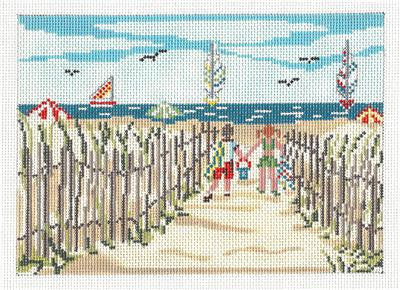 Canvas~ Children Going To The Beach handpaint Needlepoint Canvas Needle Crossings