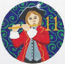 12 Days of Christmas 11 Pipers Piping on Hand Painted Needlepoint Canvas by JulieMar