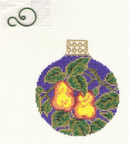 "Round~3.25"" Two Pears with Diamond Dust Ornament handpainted Needlepoint Canvas~by Whimsy and Grace"