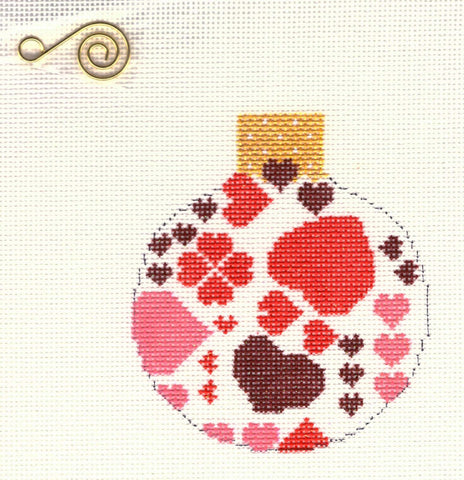 "Round~3.25"" Christmas Hearts Ornament handpainted Needlepoint Canvas~by Whimsy and Grace"