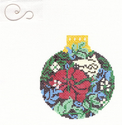 "Round~3.25"" Red Flower in Garden Ornament handpainted Needlepoint Canvas~by Whimsy and Grace"