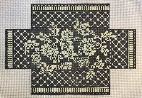 Brick Cover~Damask Doorstop 13M handpainted Needlepoint Canvas~by Whimsy and Grace