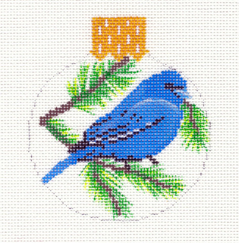"Round~3.25"" Blue Bird with Pine Boughs Ornament handpainted Needlepoint Canvas~by Whimsy and Grace"