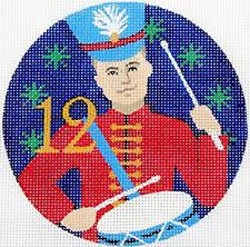 12 Days of Christmas 12 Drummers Drumming on Hand Painted Needlepoint Canvas by JulieMar
