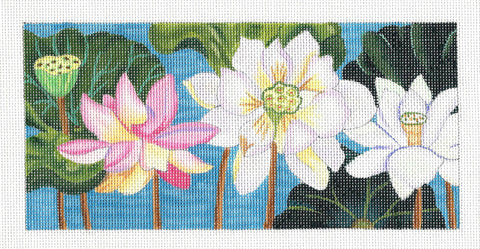 Canvas~Lotus Garden Abloom on Hand Painted Needlepoint Canvas by JulieMar