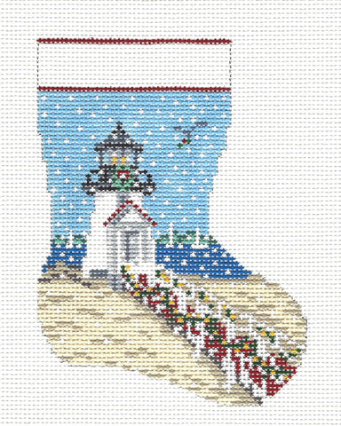 Stocking~Lighthouse in Snow 13 MESH Mini handpainted Needlepoint Canvas~by Needle Crossings