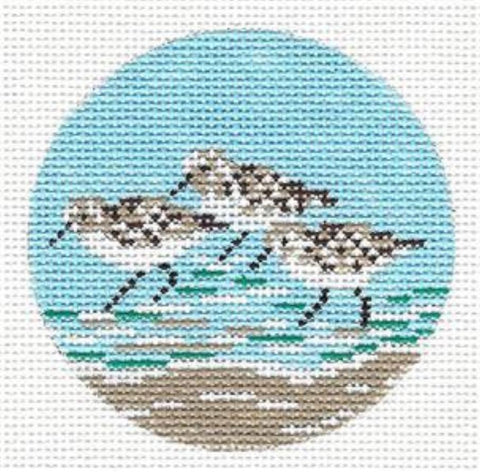 "Round~ 3"" Three SANDPIPERS Ornament handpainted Needlepoint by Needle Crossings"