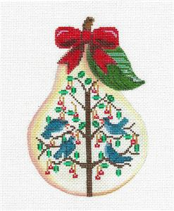 Pear~12 Days of Christmas PEAR ~ 4 Calling Birds ~ HP Needlepoint Canvas Painted Pony