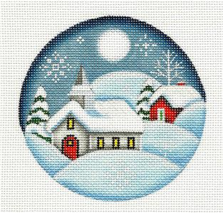 Round ~Christmas Eve Church handpainted Needlepoint Canvas Ornament Rebecca Wood *** MAY NEED TO BE SPECIAL ORDERED***