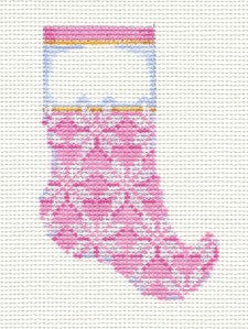 Christmas-Baby Pink Micro Stocking handpainted Needlepoint Canvas Assoc. Talents