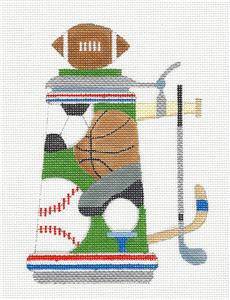 Stein~SPORTS BEER STEIN handpainted Needlepoint Canvas by Raymond Crawford