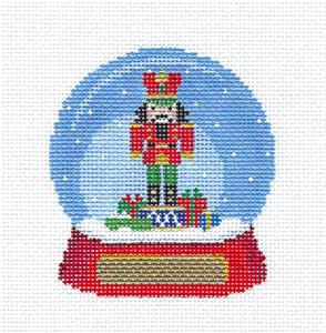 Christmas~Nutcracker SNOW GLOBE handpainted Needlepoint Canvas Ornament by Susan Roberts