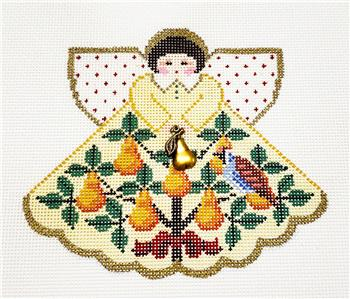 Angel~PARTRIDGE in PEAR TREE Angel & Charms  handpainted Needlepoint Canvas Painted Pony **MAY NEED TO BE SPECIAL ORDERED**
