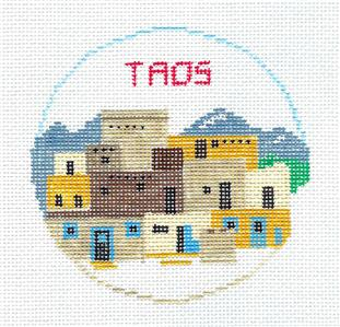 Travel Round~TAOS, NEW MEXICO handpainted Needlepoint Canvas~by Kathy Schenkel**MAY NEED TO BE SPECIAL ORDERED**