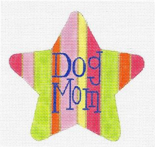 Star~ DOG MOM Star handpainted Needlepoint Ornament Canvas by Raymond Crawford