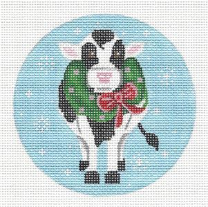 Round~Christmas Cow with Wreath handpainted Needlepoint Ornament by Pepperberry