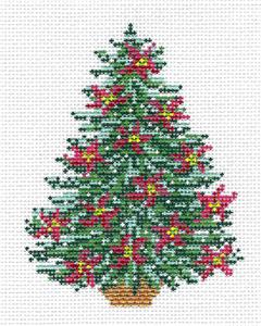 Canvas~ Poinsettia Christmas Tree handpainted Needlepoint Canvas by Needle Crossings