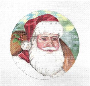 Christmas~Bearded Santa Face handpainted Needlepoint Canvas Ornament by LIZ from S.Roberts