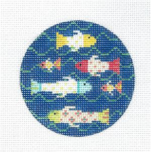 "Kelly Clark Round –School of 6 Fish handpainted 3"" Round Needlepoint Canvas by Kelly Clark"