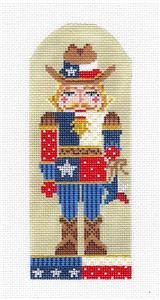 Kelly Clark Canvas – TEXAS NUTCRACKER COWBOY handpainted Needlepoint Ornament Canvas by Kelly Clark