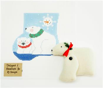 Canvas~POLAR BEAR & CANVAS SET ~ HP Needlepoint Canvas Ornament by Kathy Schenkel ***SPECIAL ORDER***