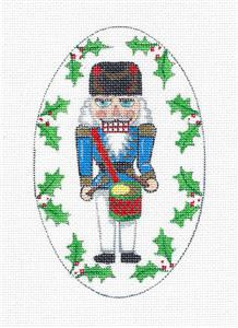Drummer Nutcracker Oval Ornament handpainted Needlepoint Canvas Creative Needle
