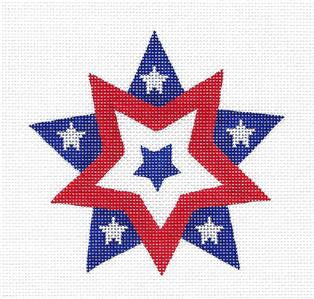 Canvas- Patriotic Double Star handpainted Needlepoint Ornament Canvas by Pepperberry