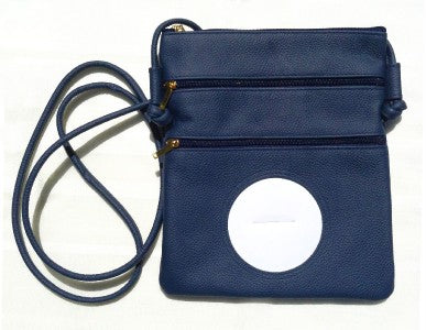 "Accessory~Navy Leather Cross Body Purse BAG 63 for 3"" Rd. Needlepoint Canvas by LEE"