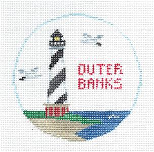 Travel Round~OUTER BANKS, NORTH CAROLINA handpainted Needlepoint Canvas~by Kathy Schenkel**MAY NEED TO BE SPECIAL ORDERED**