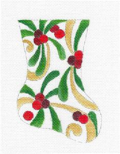 Stocking~Mistletoe & Berries Mini Stocking handpainted Needlepoint Ornament Raymond Crawford