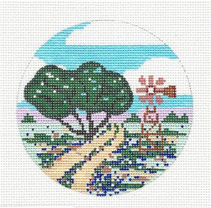 "Round~4""TEXAS HILL COUNTRY handpainted Needlepoint Canvas 4"" Ornament by Painted Pony **MAY NEED TO BE SPECIAL ORDERED**"