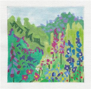 Canvas~Hillside of Summer Blossoms handpainted Needlepoint Canvas by Juliemar