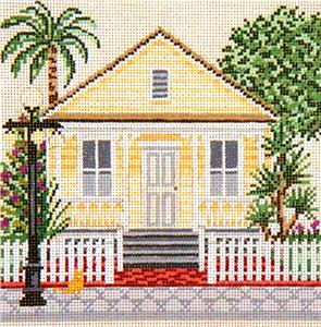 "Canvas House~ The ""Shotgun House"" in Florida handpainted Needlepoint Canvas Needle Crossings"